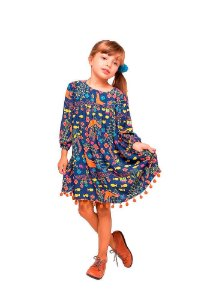 Vestido Infantil  das meninas  manga longa Passarada