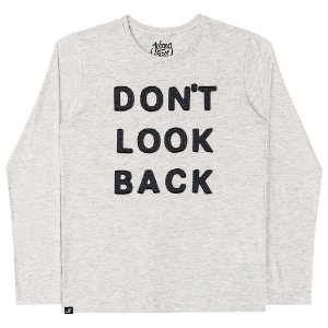 Camiseta Infantil Johnny Fox Cinza Mescla Don´t Look Back