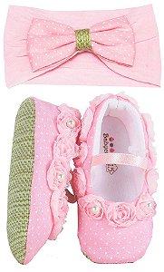 sapatinho Bebê Baby Cake macio rosa bebê poá + faixa cabelo
