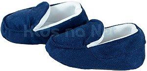 sapatinho Bebê Baby Cake macio mocassim azul marinho