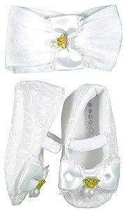 sapatinho Bebê Baby Cake macio branco coroa + faixa cabelo