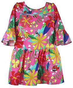 Vestido infantil feminina Guapachic de festa Insetos -
