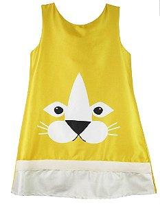 Vestido infantil feminina Guapachic de festa Gato amarelo -