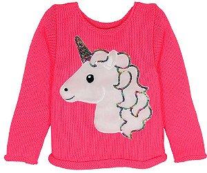 Blusa de Menina Kids na Net tricô Unicórnio Pink