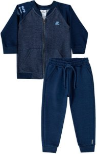 Conjunto infantil Up Baby Moletom Flanelado Denim