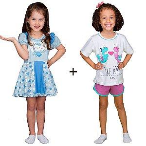 Kit Camisola infantil Frozen + Pijama Infantil Lhama