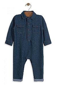 Macacão Bebê Menino Up Baby Bebê Moletom Imitando Jeans