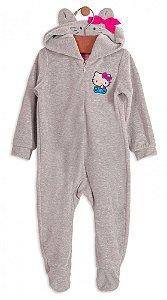 Macacão Bebê Menina Up Baby Bebê Plush Cinza Hello Kitty