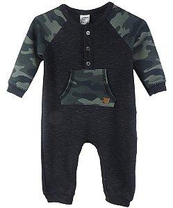 Macacão Bebê Luc Boo Ribana com Moletom e Cotton Militar