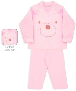Pijama infantil Dedeka Soft Rosa Bebê Urso Pelúcia Pijama