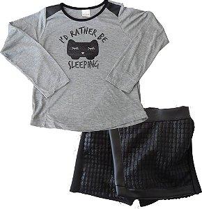 Conjunto infantil Ninali Blusa com Shorts Saia Gato Sleeping