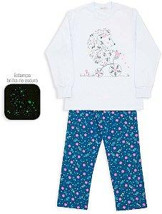 Pijama infantil Dedeka Floral Marinho Brilha no escuro