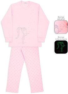 Pijama infantil Dedeka corações glitter Brilha no escuro
