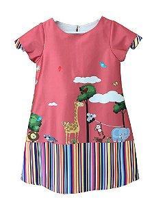 Vestido infantil feminina Guapachic de festa zoo rose