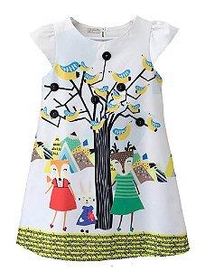 Vestido infantil feminina Guapachic de festa Bosque amarelo