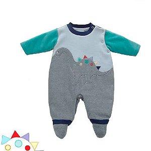 Macacão bebê menino Baby fashion bebêplush dinossauro cinza