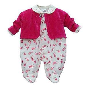 Macacão Bebê Baby fashion bebêplush mini flores com casaco