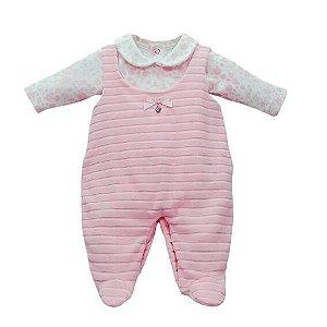 Jardineira Bebê Menina Baby fashion de plush rosa cotele