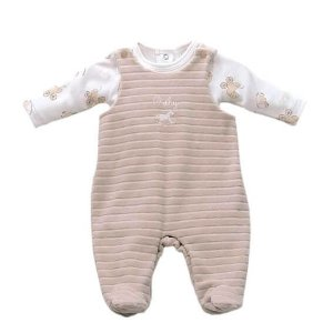 Jardineira Bebê Menina Baby fashion de plush bege cotele