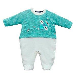 Macacão Bebê Menino Baby fashion bebê suedine avião mescla