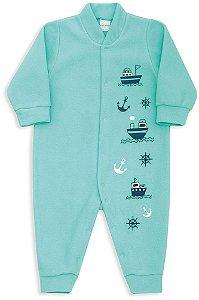 Macacão Bebê Menino Dedeka bebê soft verde navios