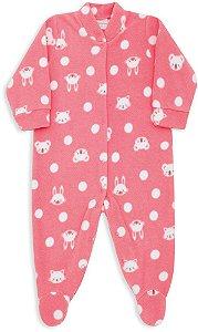 Macacão Bebê Menina Dedeka bebê soft rosa rose bichinhos