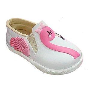 Tênis infantil femino Pesh slip on flamingo branco Tênis