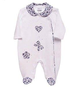 Macacão Bebê Baby fashion bebê florzinhas marinho e branco