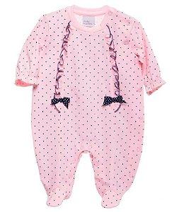 Macacão Bebê Baby fashion bebê Pintas com laço rosa bebê