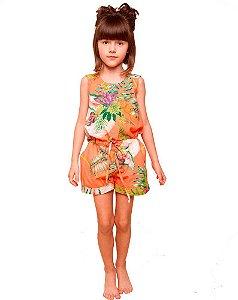 Macaquinho infantil feminino Mundo céu Laranja coral flores