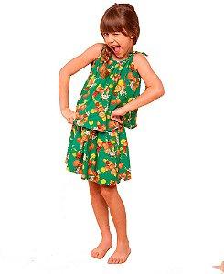Conjunto infantil feminino Mundo céu com saia verde frutas 1