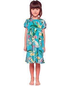 Vestido infantil Menina Mundo céu azul pássaros -