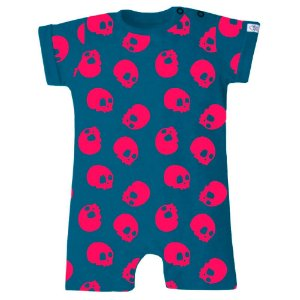 Macaquinho Bebê Menino Baby Beh bebê azul caveiras  -