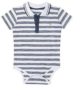 Body Bebê Menino Luc Boo gola polo listras preto
