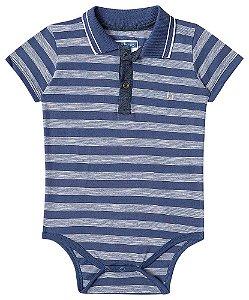 Body Bebê Menino Luc Boo gola polo listras azul marinho -