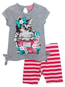 Conjunto infantil Momi gatinha blusa com leggin listras