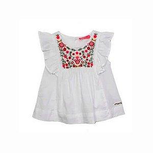 Bata infantil Menina Momi feminino branca flores bordado