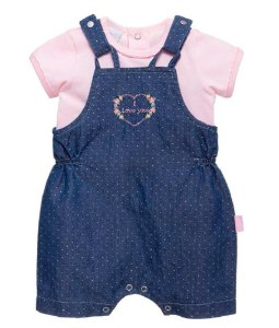 Jardineira Bebê Menina Baby fashion Jeans poá + blusa bebê