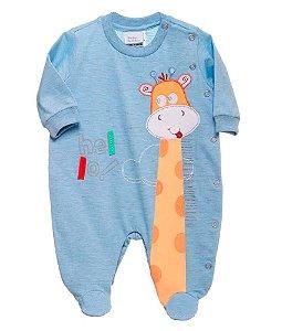 Macacão Bebê Menino Baby fashion bebê azul girafa -