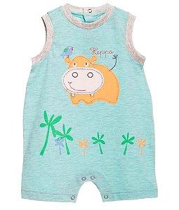 Macaquinho Bebê Menino Baby fashion bebê verde Hipopótamo -