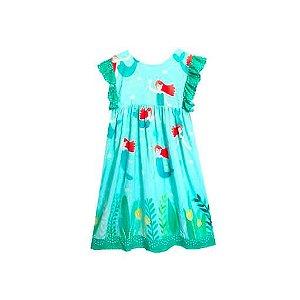Vestido infantil  Das meninas verde sereia manguinha