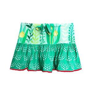 Saia infantil Menina Das meninas verde sereia pompom