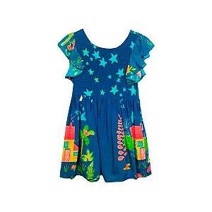 Vestido infantil Melbourne azul estrelas