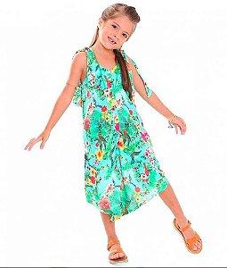 Macacão infantil Das meninas Pantacourt verde floral