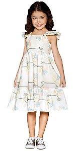 Vestido infantil que te encante off white bordado stella