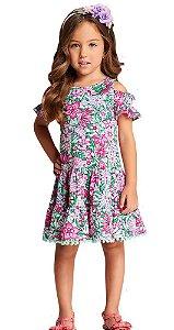 Vestido infantil feminino Momi flores contornadas pompom