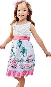 Vestido infantil feminino Momi festa barrado beach