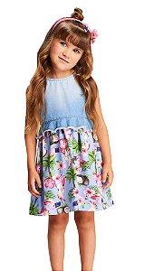 Vestido infantil feminino Momi Jeans flamingo