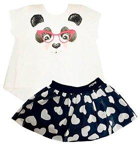 Conjunto infantil feminino Momi com saia Panda