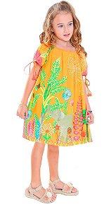 Vestido infantil feminino das meninas Elefante laranja